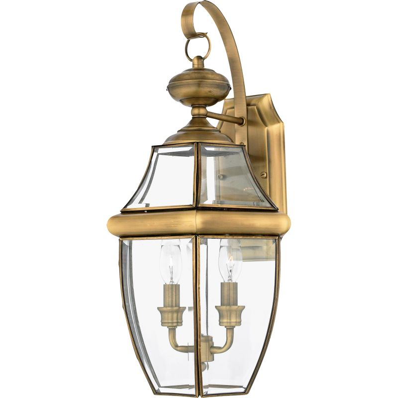 Outdoor Wall Sconce Antique Brass : Quoizel NY8317A Antique Brass Newbury 2 Light 20