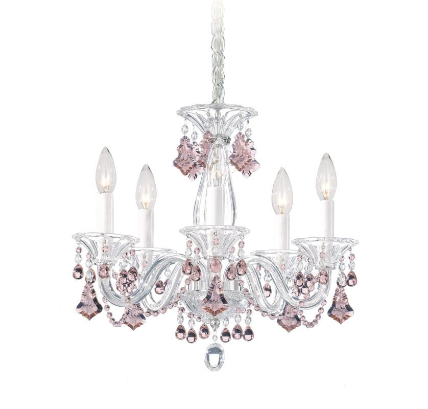 Schonbek 6985 Polished Silver 15 Wide 5 Light Candle Style Chandelier F