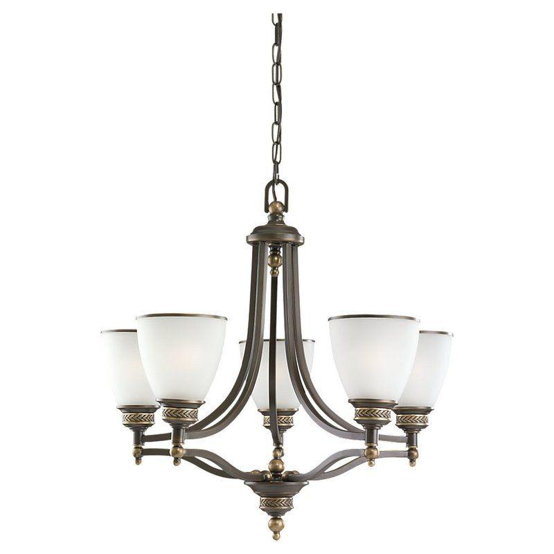 Sea Gull Lighting 31350 708 Estate Bronze Laurel Leaf 5 Light 1 Tier Chandeli