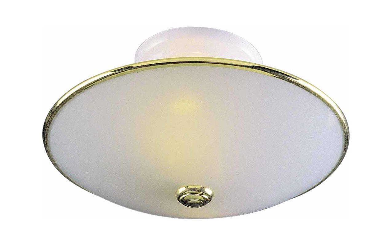 Semi Flush Ceiling Lights Glass Brass Fixture Bathroom: Volume Lighting V1912-12 Polished Brass / White 2 Light