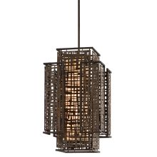 Shoji 2 Light Pendant with Hand Crafted Iron Frame and Handmade Japanese Paper Accents