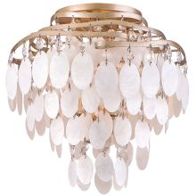 Dolce 3 Light Semi-Flush Ceiling Fixture with Hand Crafted Iron Frame and Authentic Capiz Shell Accents