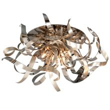 Graffiti 4 Light Modern Flush Mount Ceiling Fixture with Hand Crafted Iron Frame and Smoked Crystal Diffuser