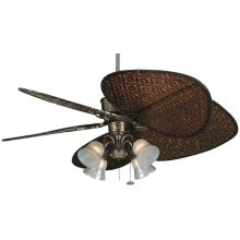 "Islander 52"" 5 Blade Ceiling Fan - Antique Blades and Light Kit Included"