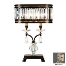 Eaton Place Silver Two-Light Table Lamp with Inline Dimmer Switch and Channel-Set Crystal Diffuser and Crystal Accents