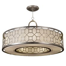"Allegretto Silver 48"" Diameter Five-Light Drum Pendant with White Textured Linen Shade"