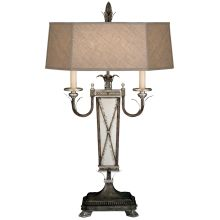 Villa Vista Two-Light Table Lamp with Inline Hi/Lo Switch and Hand-Sewn Driftwood Linen Shade