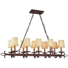 Lyon 10 Light Linear Chandelier with Fabric Shades