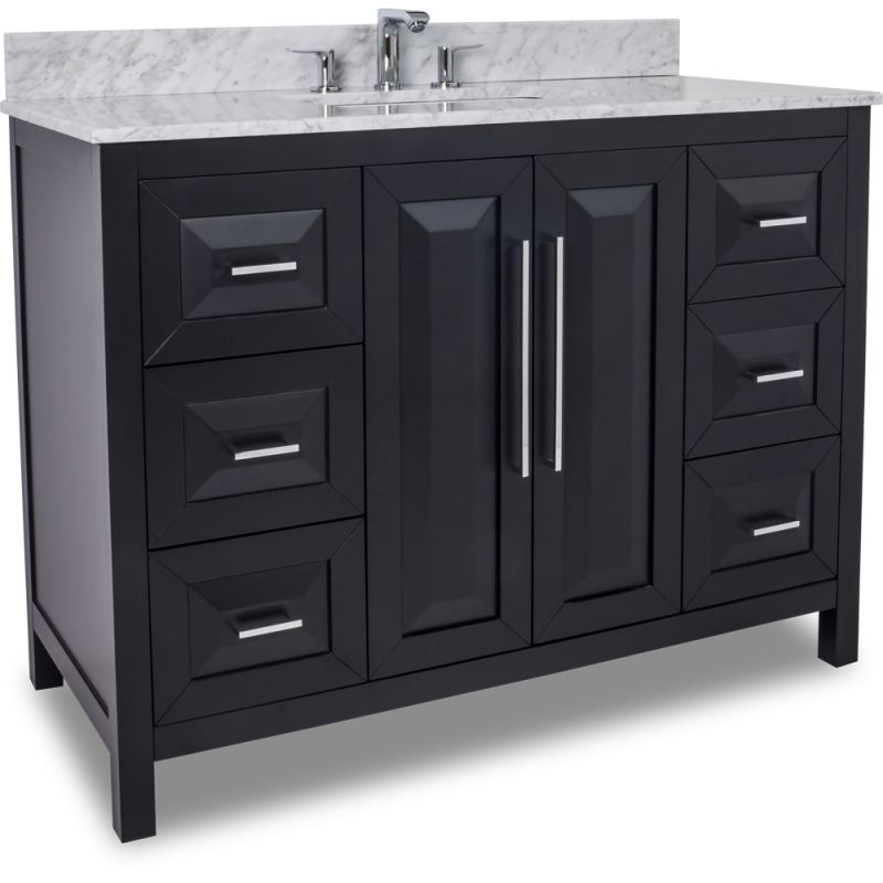 jeffrey alexander van101 48 t black cade contempo collection 48 inch wide bathroom vanity. Black Bedroom Furniture Sets. Home Design Ideas