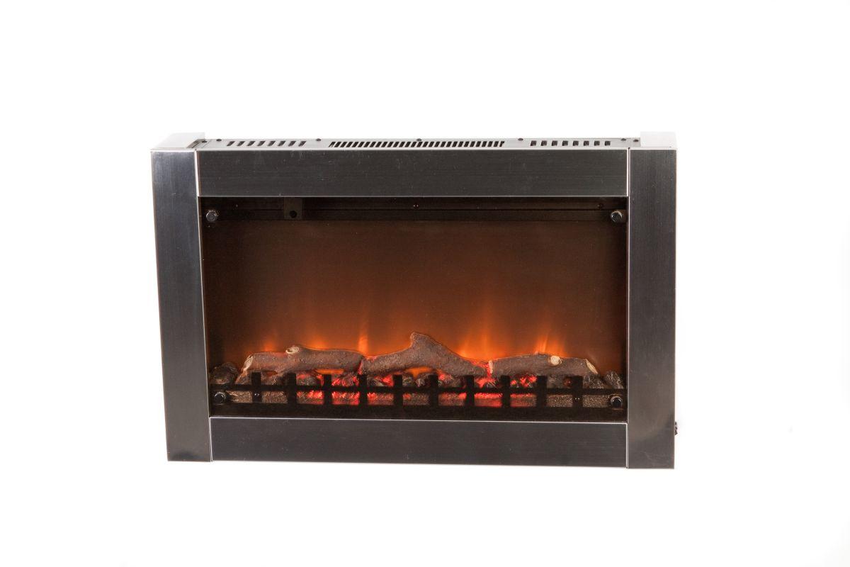 Fire Sense 60758 Stainless Steel 1350 Watt Stainless Steel Wall Mounted Electric Fireplace