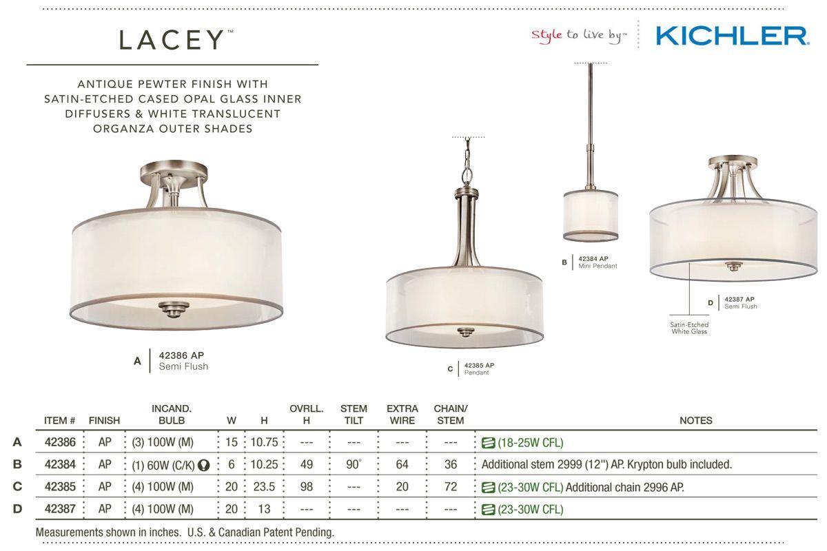 Kichler Lacey Antique Pewter Four Light Bath Fixture: Kichler 42385 Lacey Pendant Light