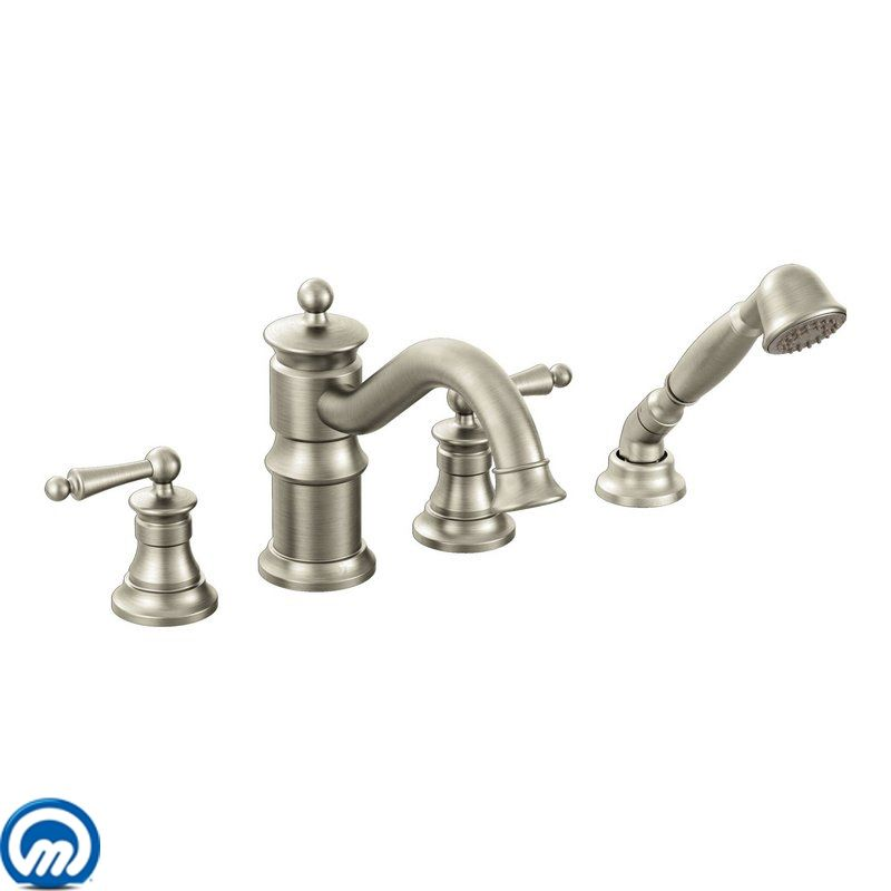 deck mounted roman tub faucet trim with personal hand shower and built