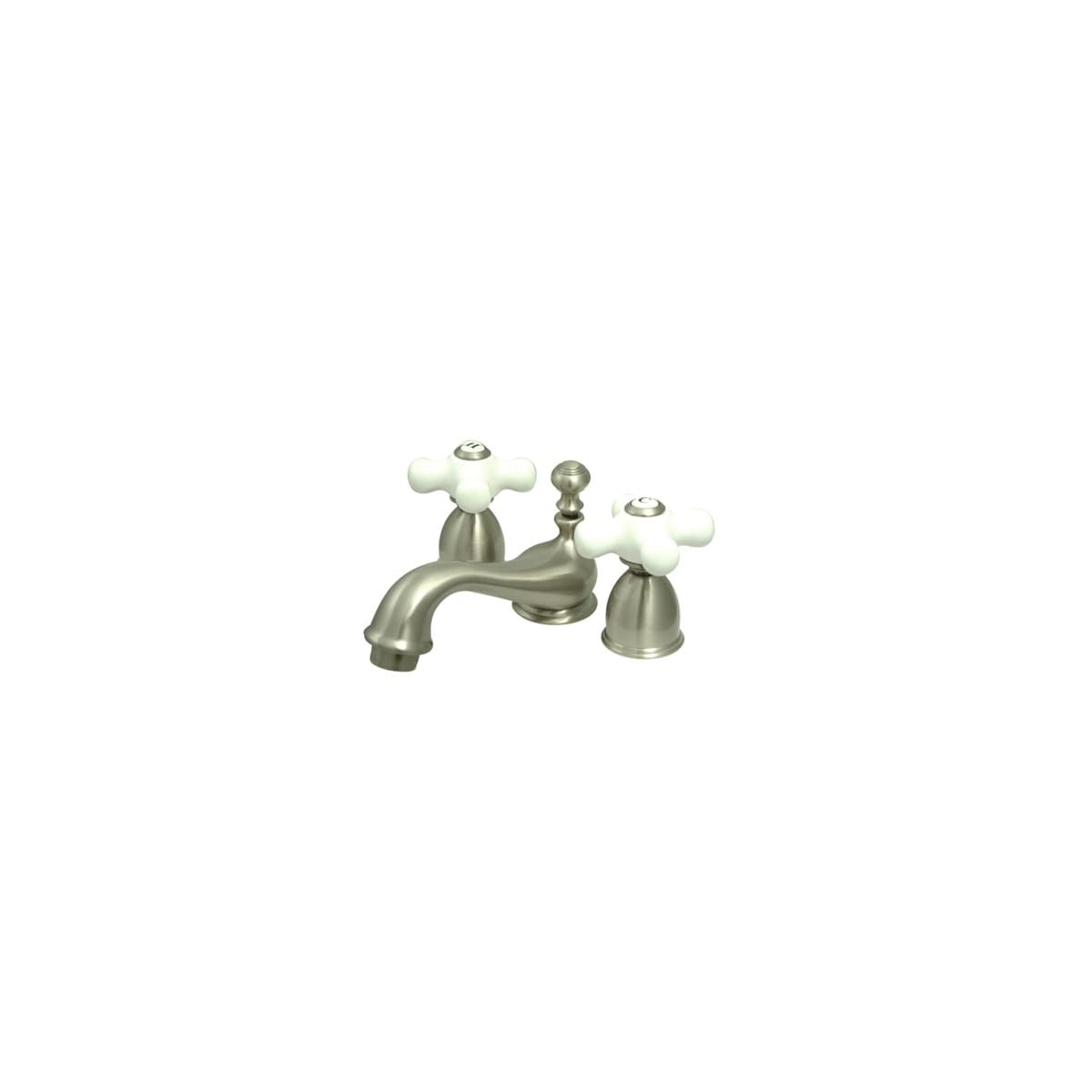 Polished Brass KINGSTON Brass KS3952PX Restoration Mini Widespread Lavatory Faucet with Porcelain Cross Handle 4