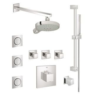 Grohe Gss Eurocube Cth 08 000 Starlight Chrome Thermostatic Shower System With Multi Function Head Handshower Slide Bar Bodysprays