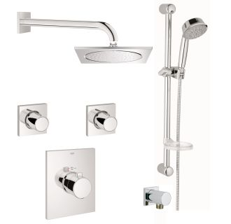 Beau Grohe GSS Grohtherm FCTH 07 000 Starlight Chrome Grohtherm F Thermostatic Shower  System With Rain Shower Head, Handshower, Slide Bar, And Volume Controls ...