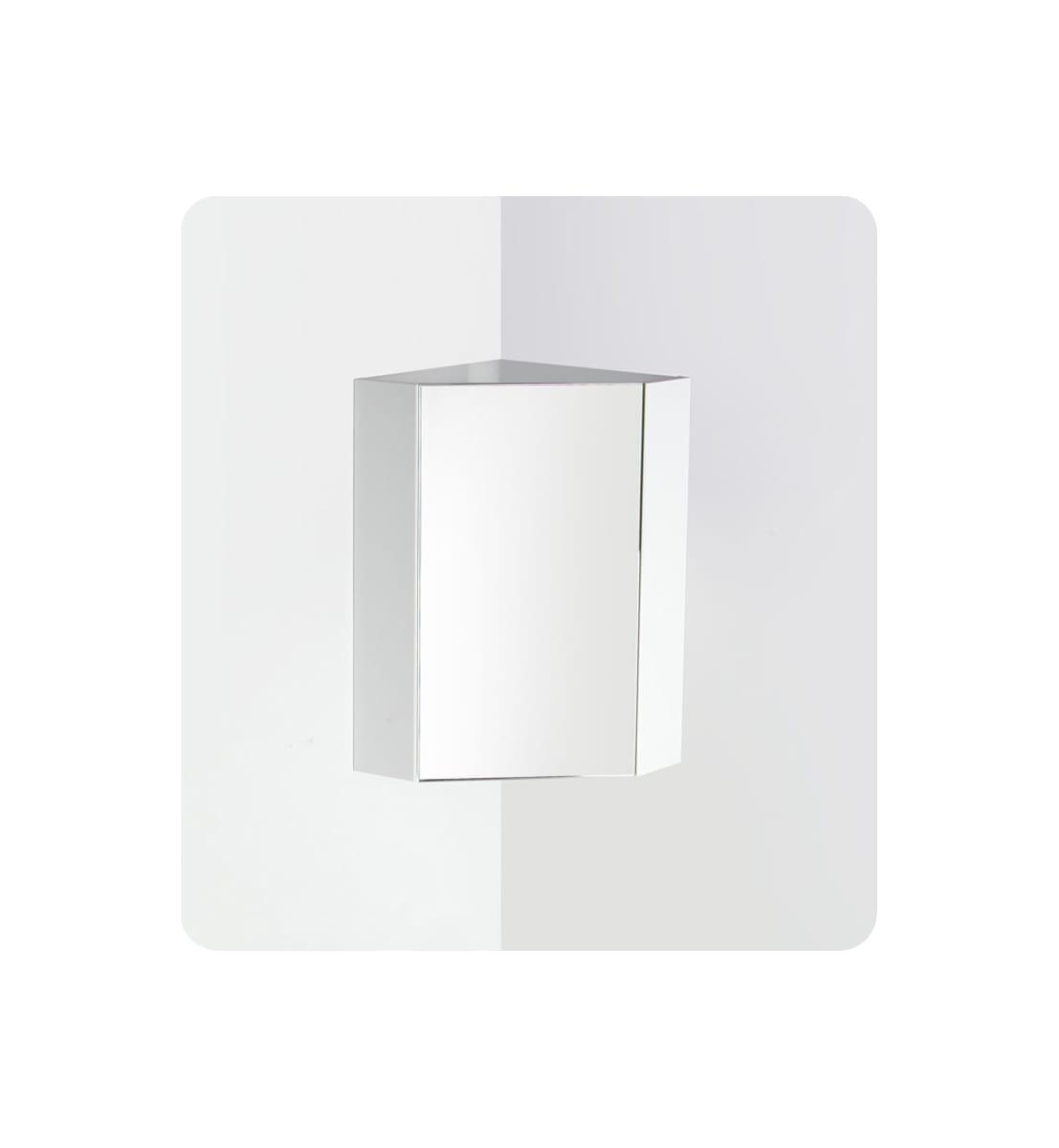 Fresca Fmc5084wh White 18 Single Door Framed Corner Medicine Cabinet With Two Shelves Faucet Com