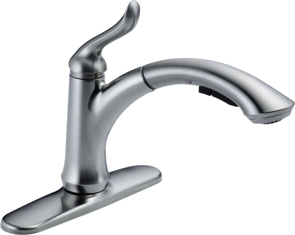 Delta Kitchen Faucets Canada Faucetcom 4353 Ar Dst In Arctic Stainless By Delta