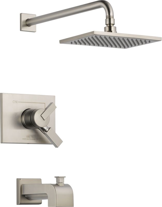stand up shower faucet.  Faucet com T17453 SS in Brilliance Stainless by Delta