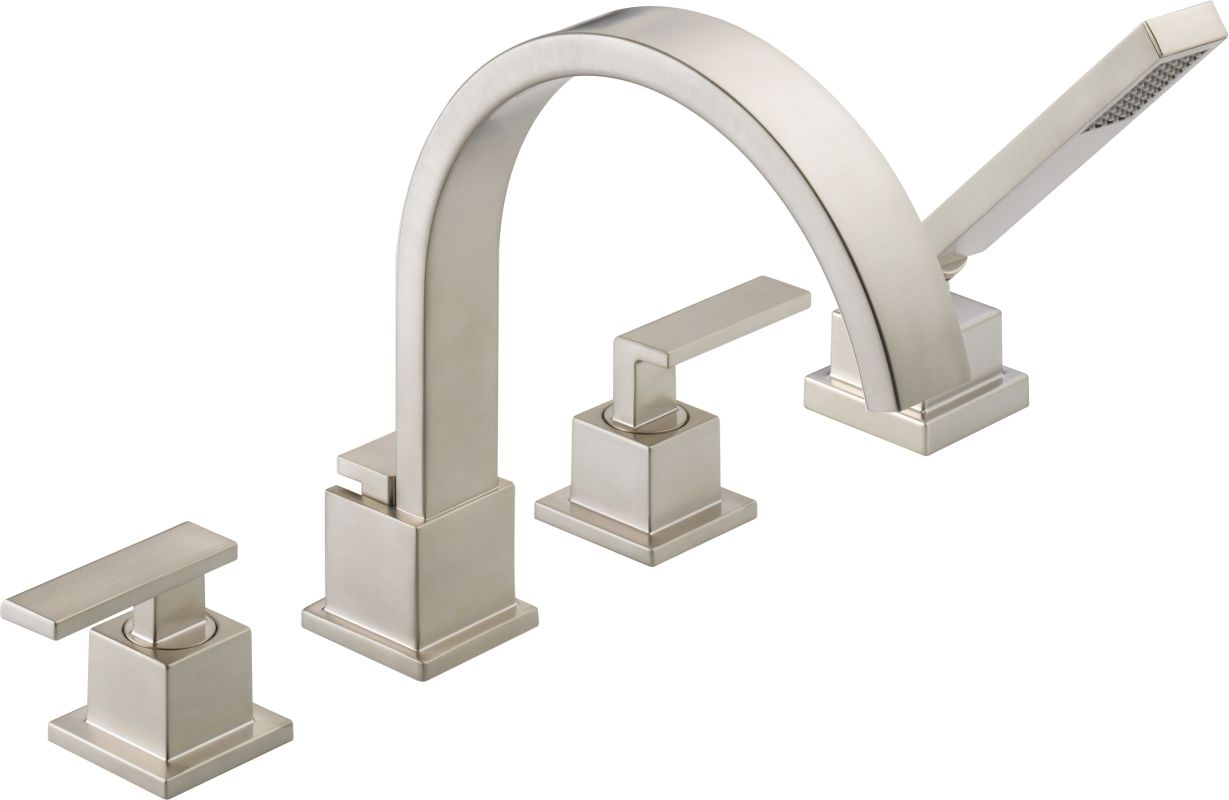 kohler roman tub faucet with hand shower.  Faucet com T4753 SS in Brilliance Stainless by Delta