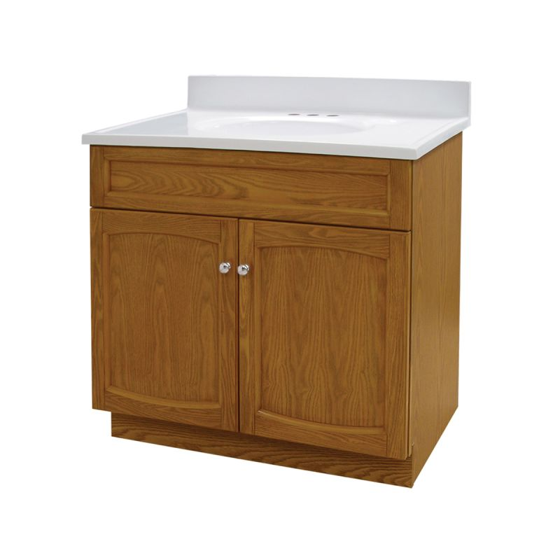 heartland 30 inch oak bath vanity with top