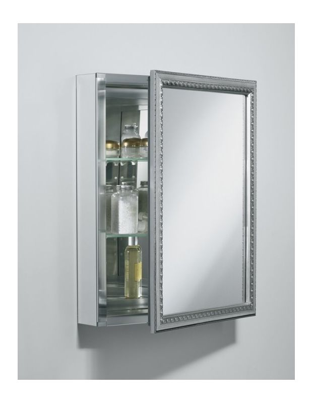 reversible hinge framed mirrored medicine cabinet with silver finish