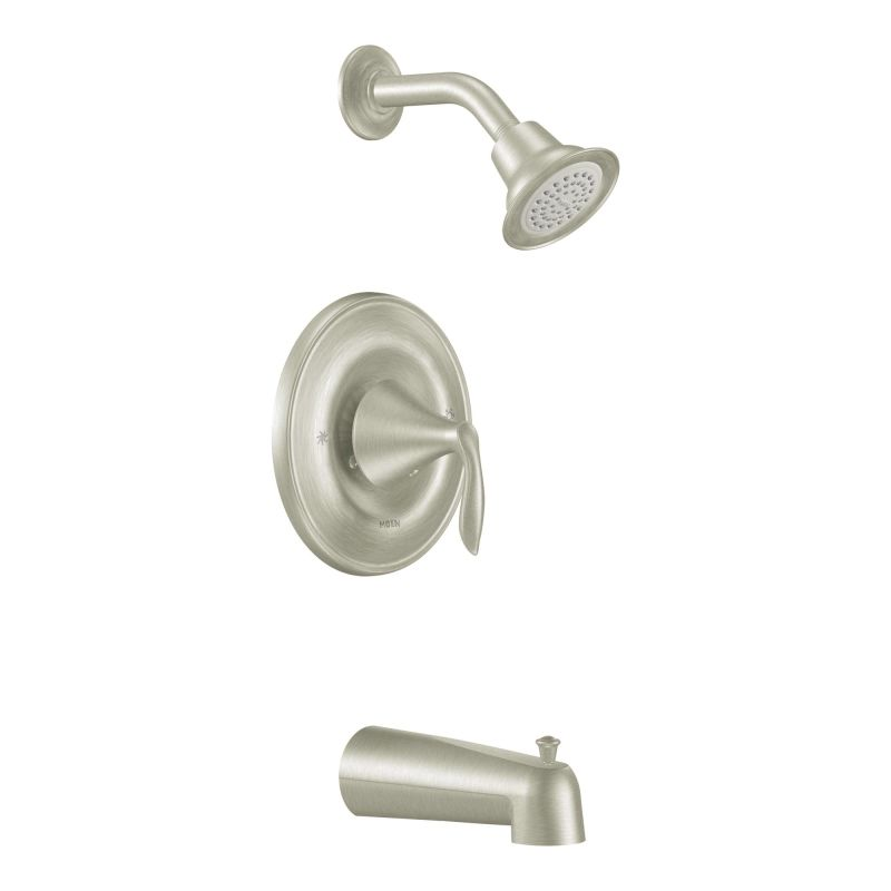 moen single lever shower faucet.  Faucet com T2133EPBN in Brushed Nickel by Moen