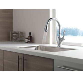 Delta-9178-DST-Running Faucet in Spray Mode in Arctic Stainless