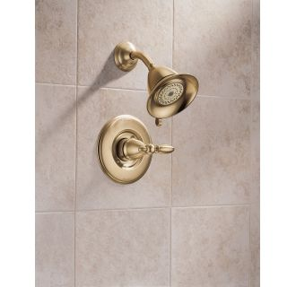 Delta-T14255-LHP-Installed Shower Trim in Champagne Bronze