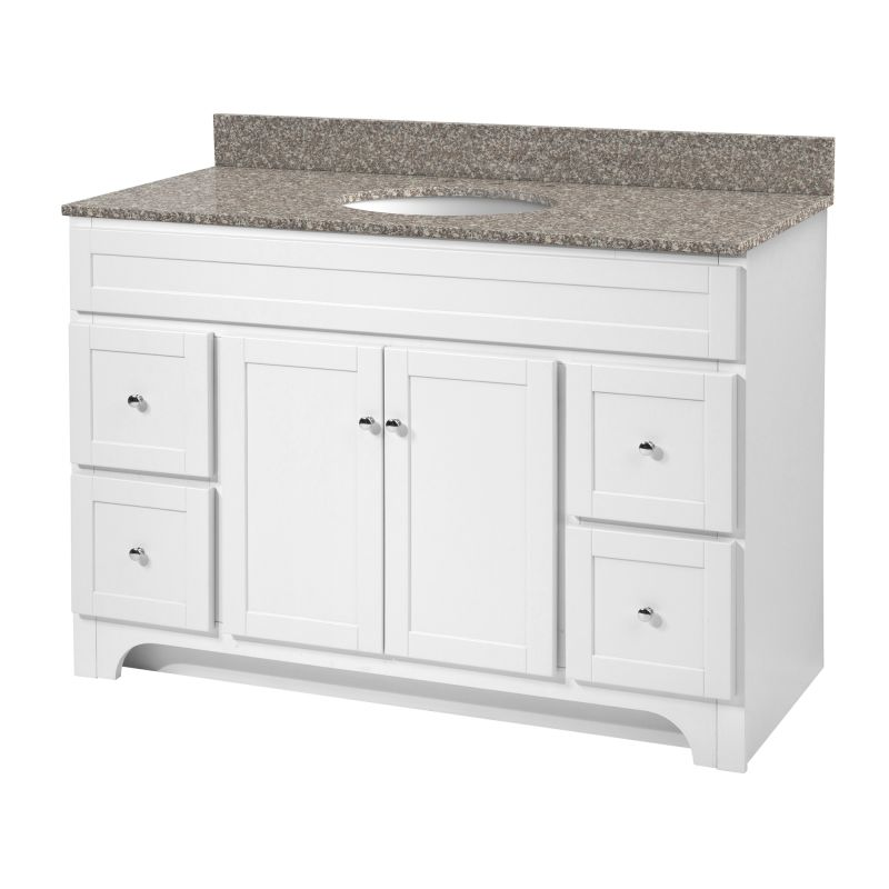 Foremost wrwa4821d white worthington 48 vanity cabinet only - Bathroom vanity cabinet base only ...