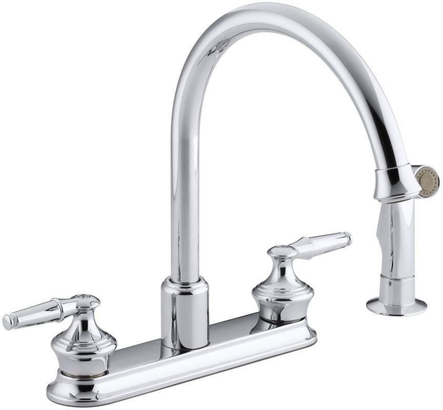 kohler k 15889 k cp polished chrome double handle kitchen kohler gooseneck kitchen faucet home design ideas