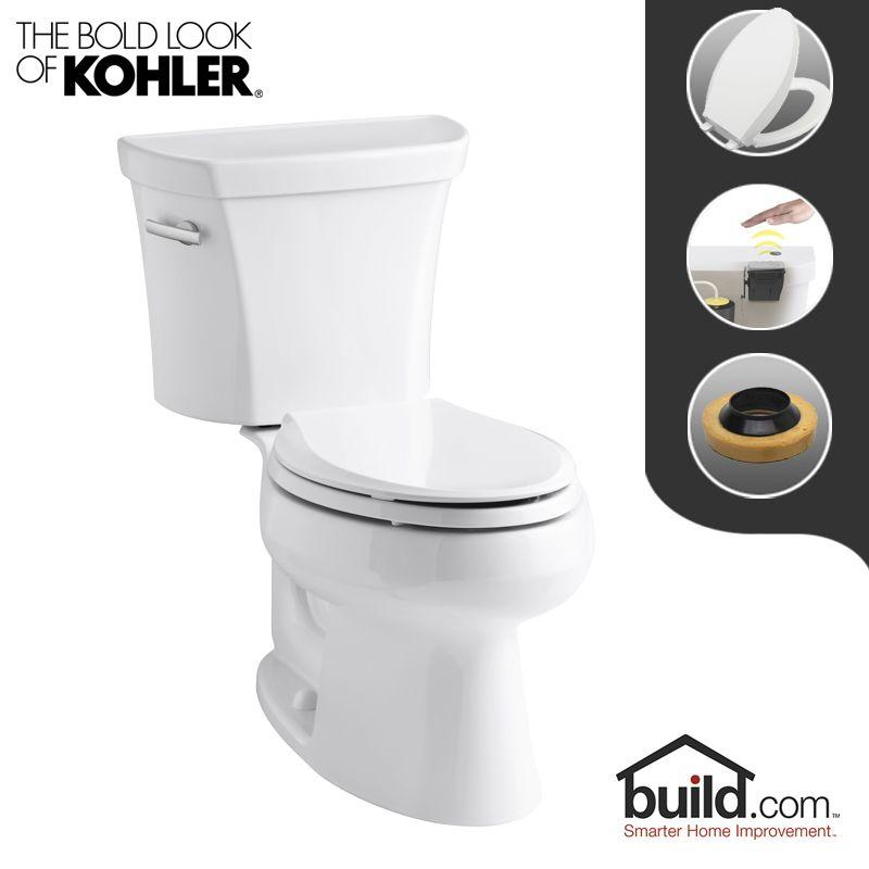 Kohler k 3978 0 touchless white wellworth 1 6 gpf for Touchless toilet seat