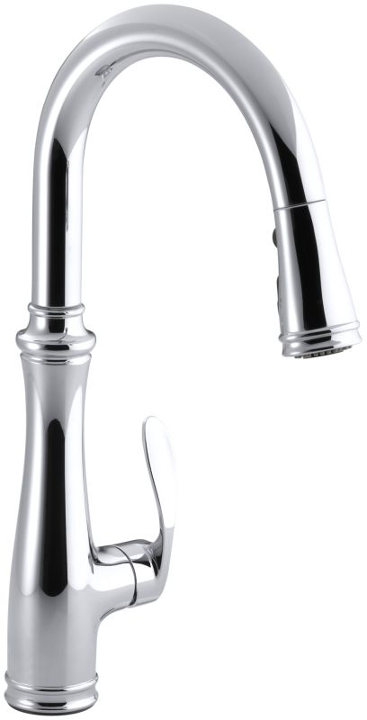 Kohler K 560 Cp Polished Chrome Bellera Single Hole Or Three Hole Kitchen Sink Faucet With Pull