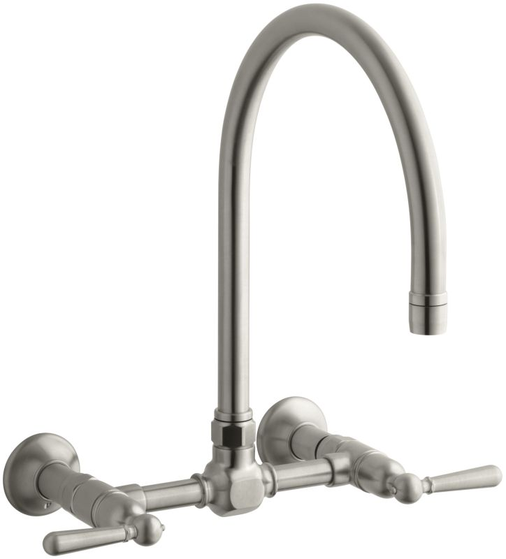 Kohler K 7338 4 Bs Brushed Stainless Double Handle Wall