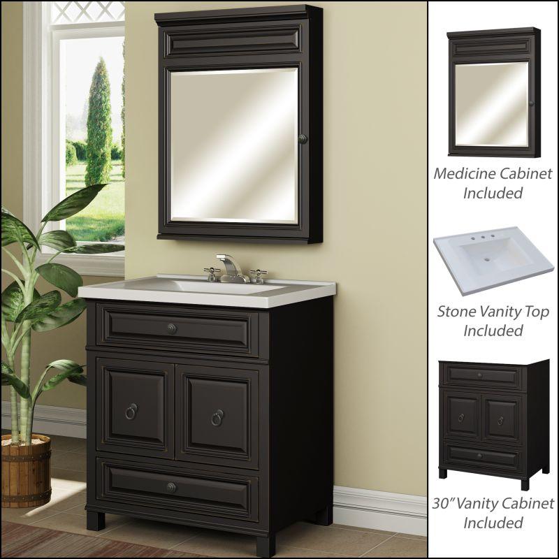 Miseno mvbh30com antique espresso 30 bathroom vanity set - Bathroom vanity and medicine cabinet combo ...
