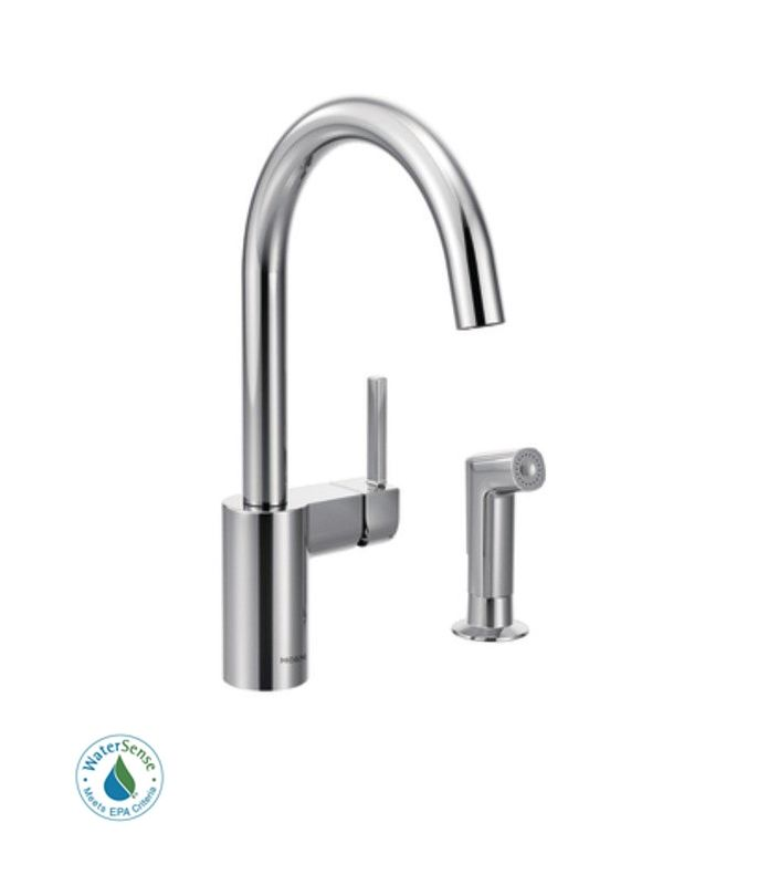 Faucet Direct : Moen 7165 Chrome Single Handle Kitchen Faucet with Side Spray from the ...