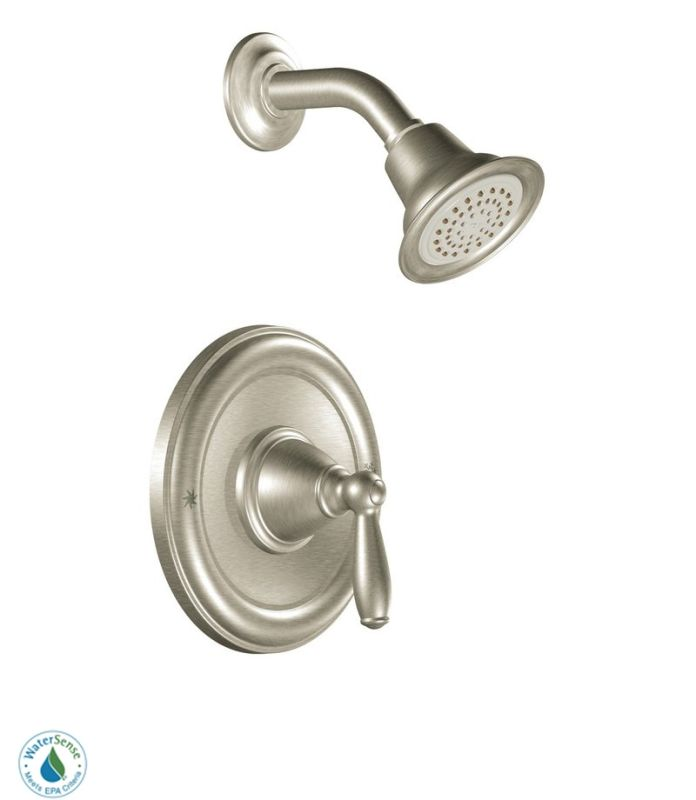 Moen t2152epbn brushed nickel single handle posi temp pressure balanced shower trim with shower for Moen brantford bathroom collection