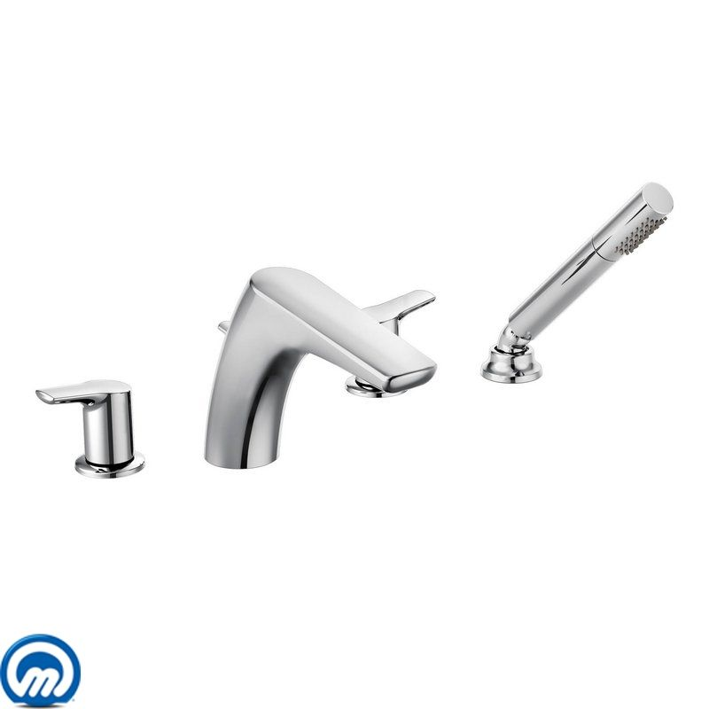 Moen T987 Chrome Deck Mounted Roman Tub Faucet Trim With Personal Hand Shower