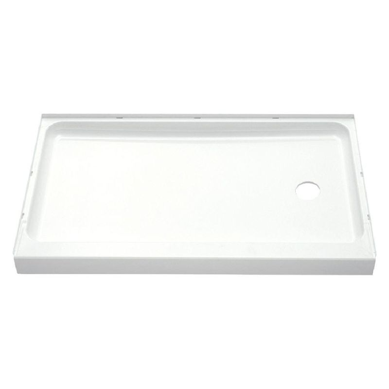 Sterling 72171120 0 white ensemble 60 x 30 x 5 vikrell shower pan with drain right - 30 x 60 shower pan ...