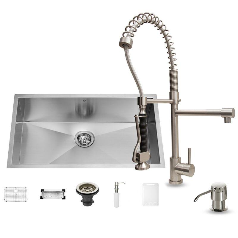 Vigo vg15067 stainless steel 32 single basin undermount kitchen sink with vg02007 chrome finish - Vigo sink accessories ...