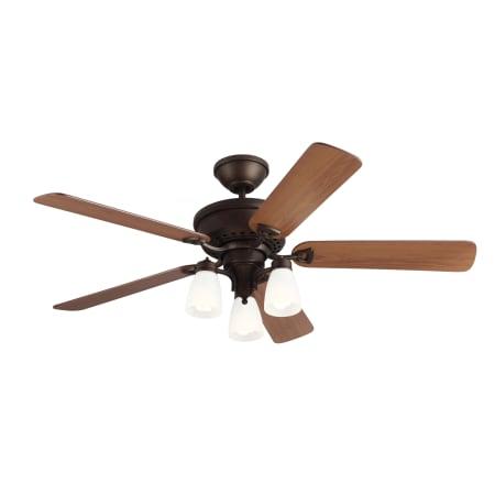 Monte Carlo 5bo52ebd English Bronze Bravo 52 Quot 3 Light Indoor Ceiling Fan Blades Included