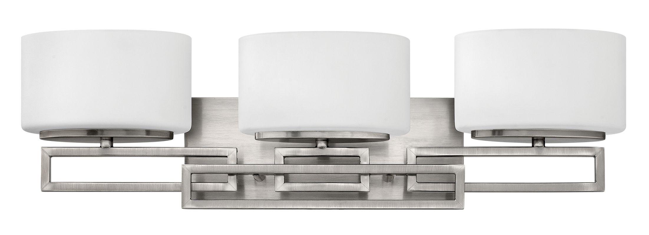 Sea Gull Lighting Windgate 9 In W 3 Light Brushed Nickel: Hinkley Lighting 5103AN Antique Nickel 3 Light Bathroom