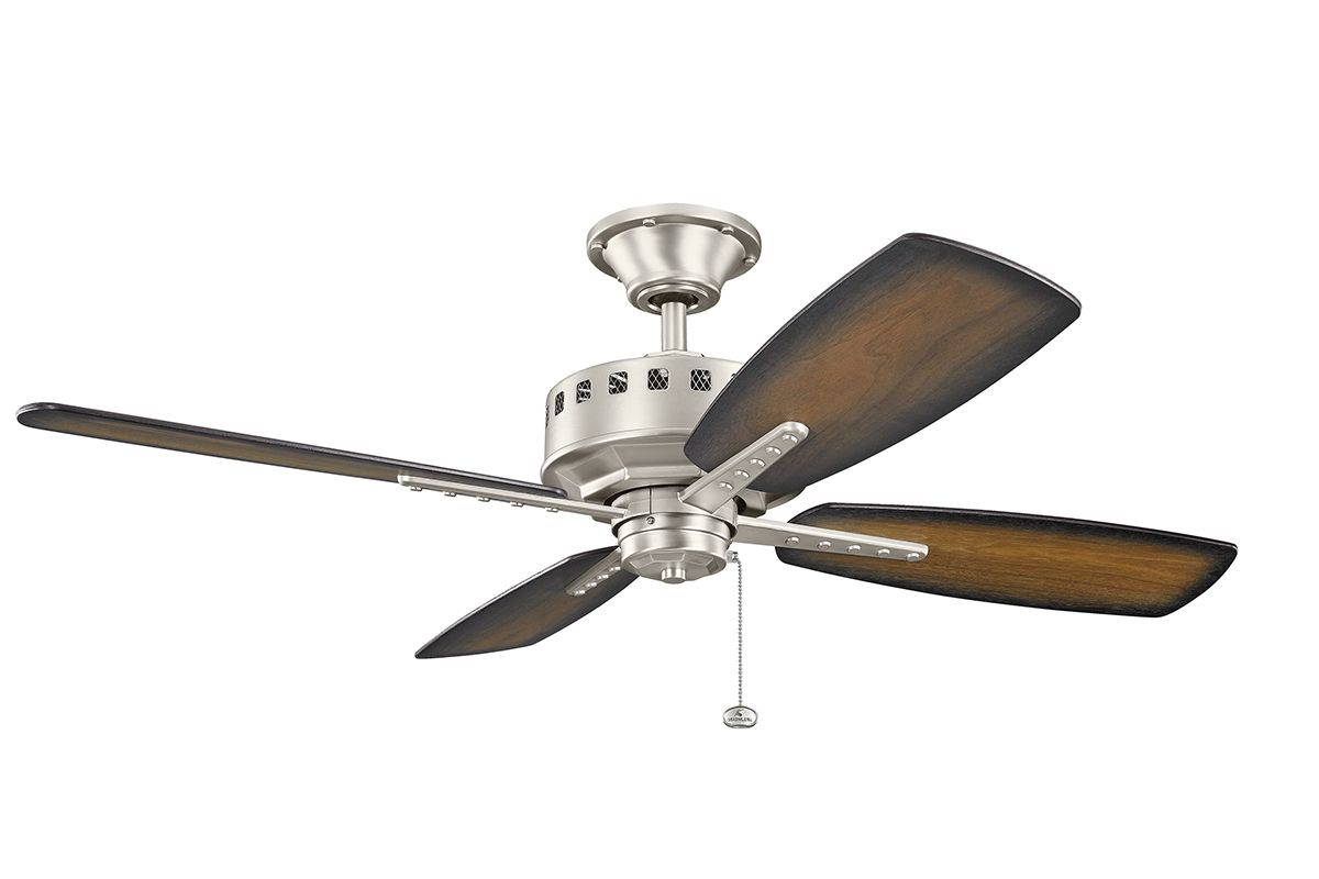 kichler ceiling fans kichler 310135ni brushed nickel 52 quot indoor ceiling fan 10163