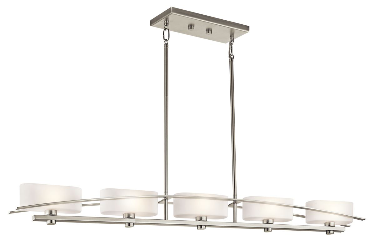 Kichler 42018ni Brushed Nickel Suspension 5 Light Linear
