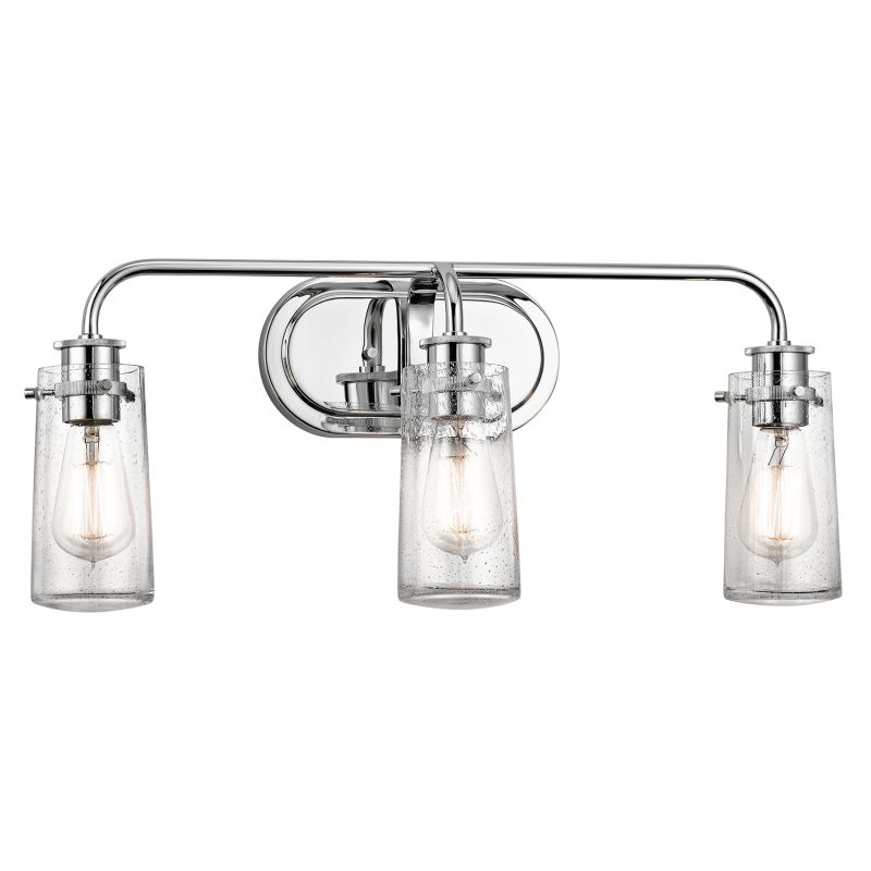 Kichler 45459ch chrome braelyn 3 light 24 wide vanity for Bathroom 3 light fixtures