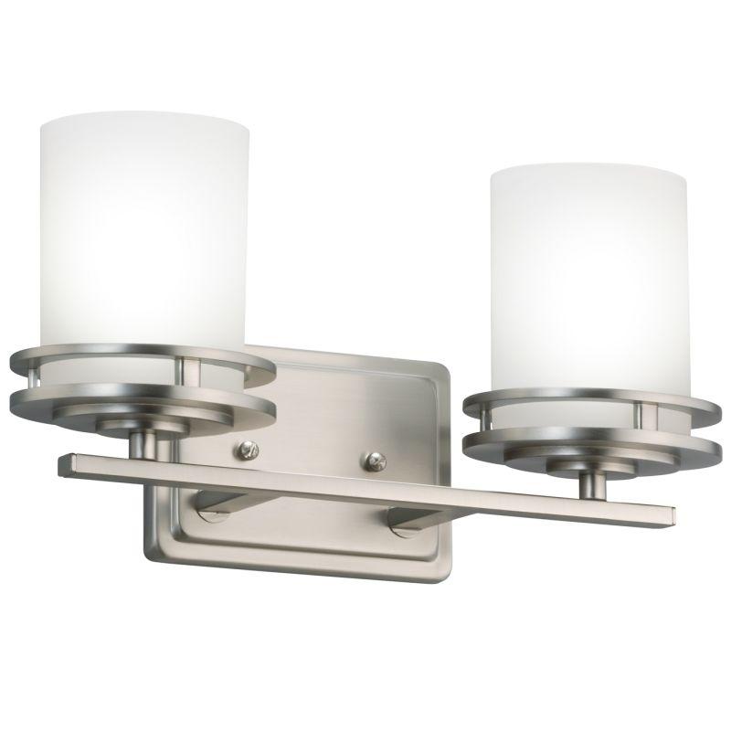 Vanity Light Fixture Glass Shade : Kichler 5077NI Brushed Nickel Hendrik 2 Light 15