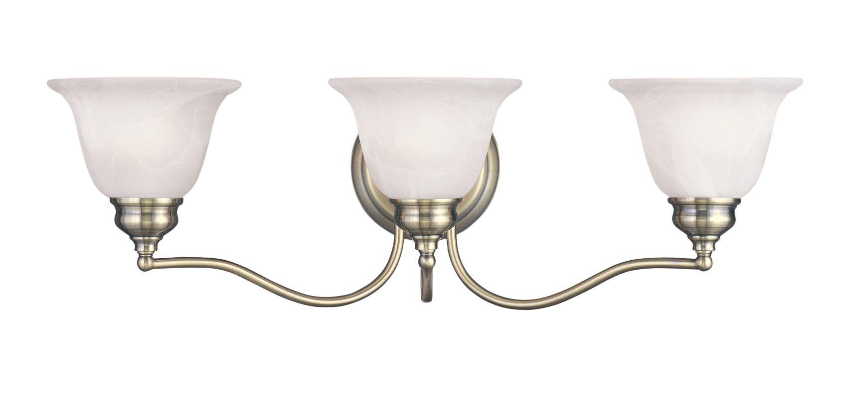 New 3 Light Bathroom Vanity Lighting Fixture Antique Brass: Livex Lighting 1353-01 Antique Brass Essex Bathroom Vanity