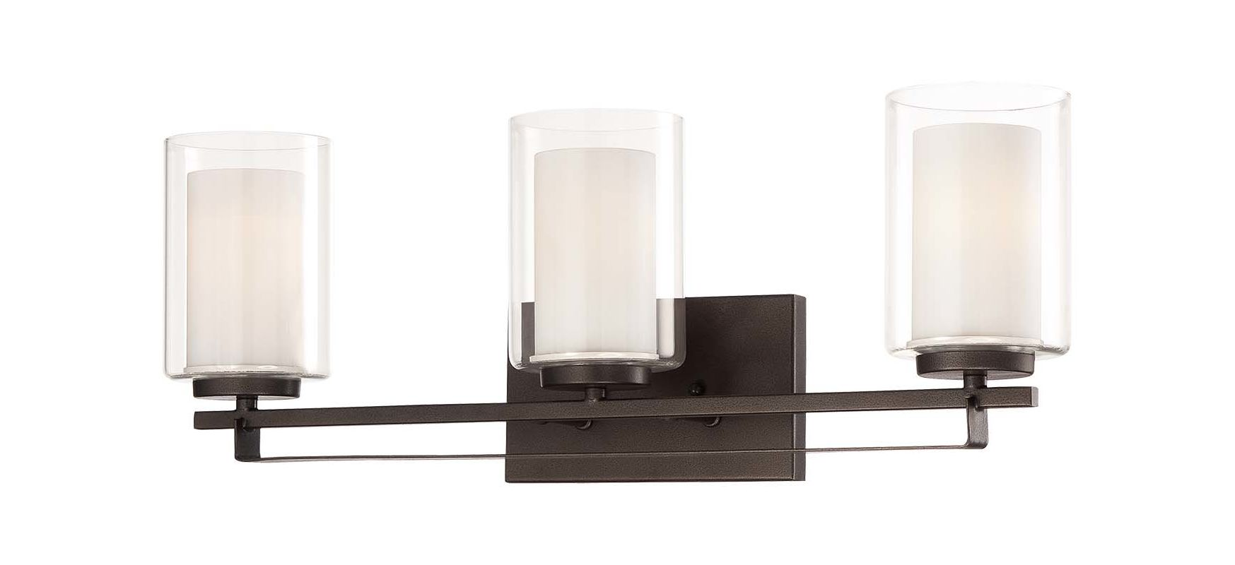 Kichler Barrington 3 Light 22 In Cylinder Vanity Light At: Minka Lavery 6103-172 Smoked Iron 3 Light Bathroom Vanity