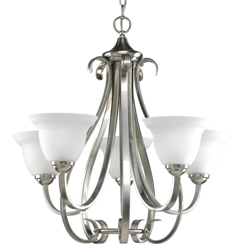 Progress Lighting P4416 09 Brushed Nickel Torino 5 Light Chandelier With Etch