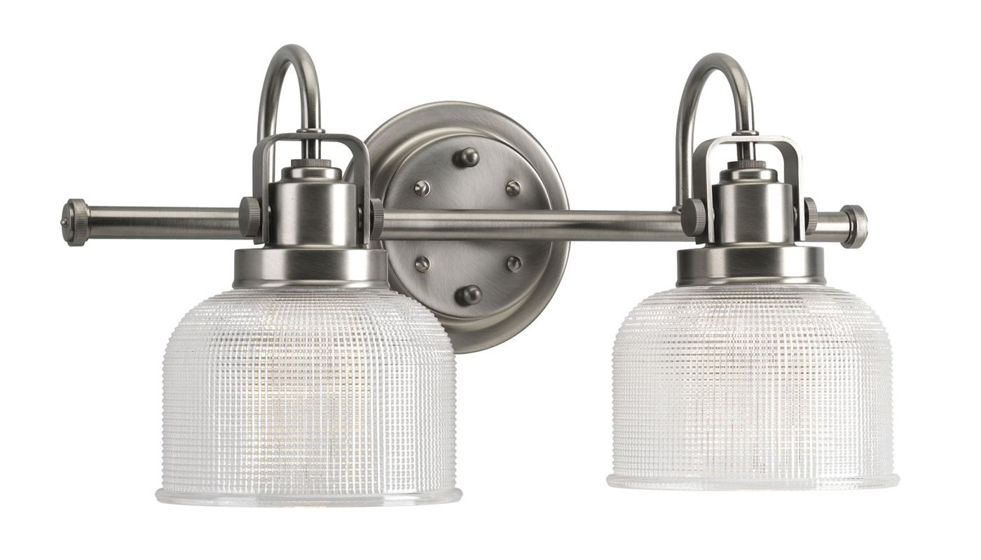 Progress Lighting Lucky Collection 4 Light Brushed Nickel: Progress Lighting P2991-81 Antique Nickel Archie 2 Light