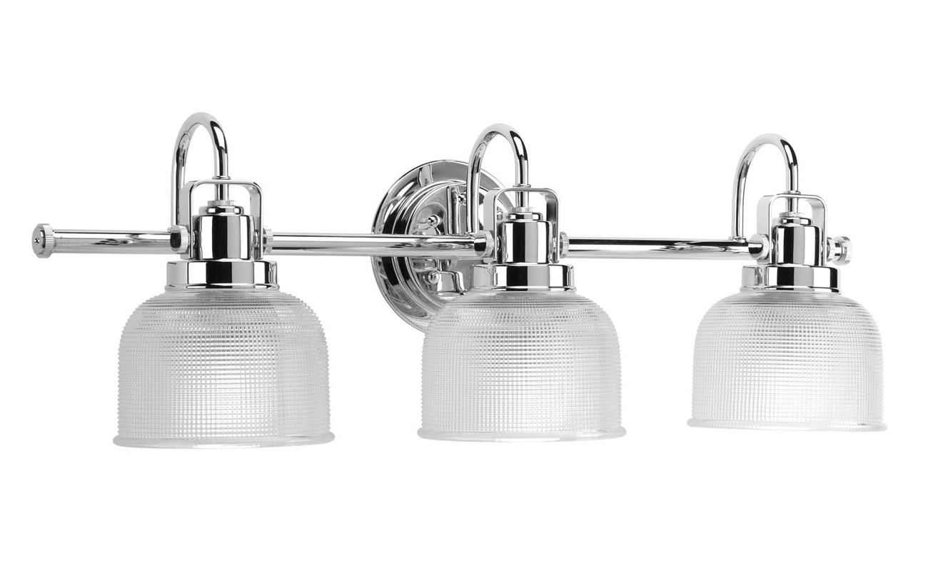 Progress Lighting P2992-15 Chrome Archie 3 Light Bathroom Vanity Light with Prismatic Shades ...